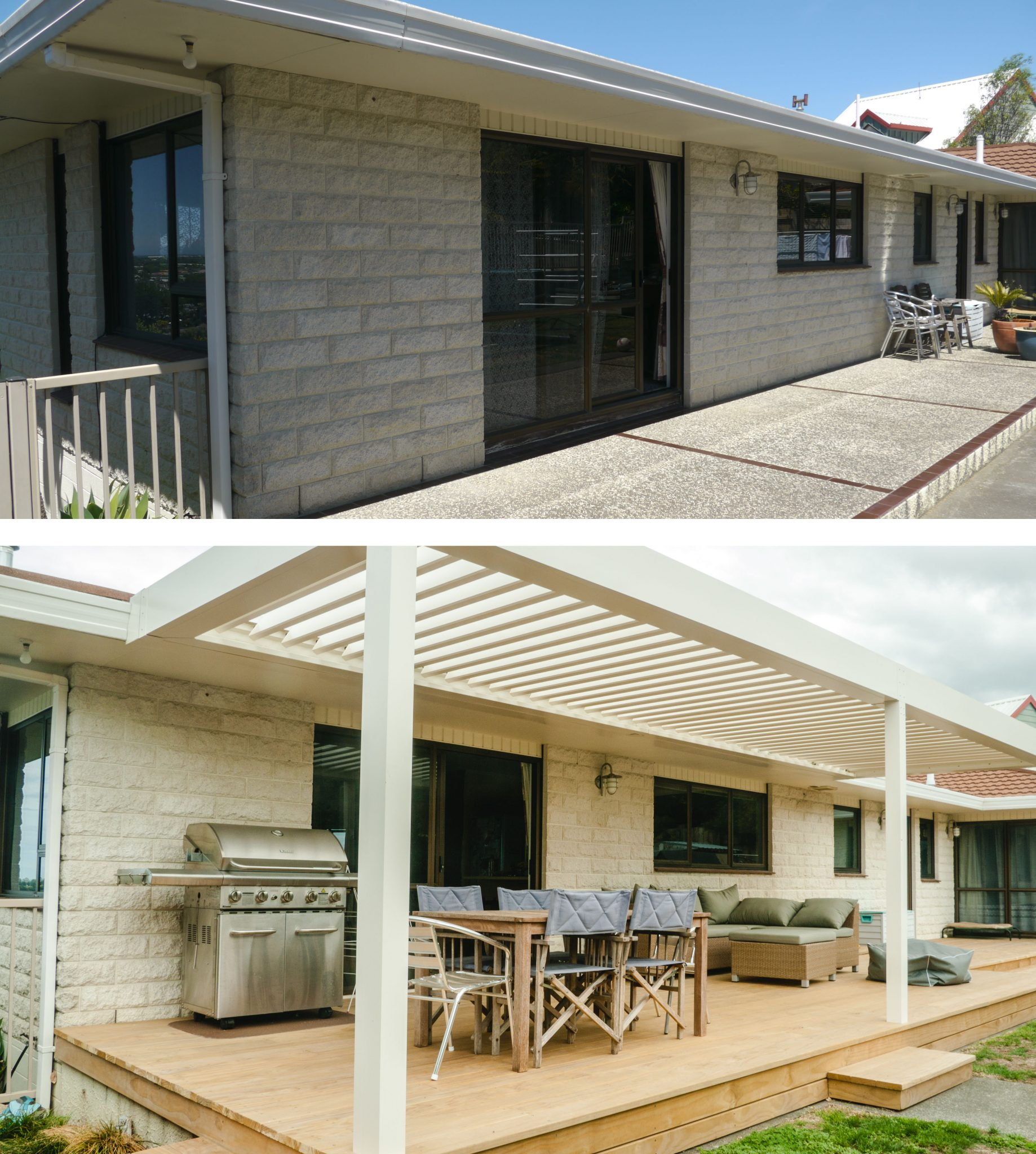 before and after of a louvre roof, deck and furniture on a patio in napier