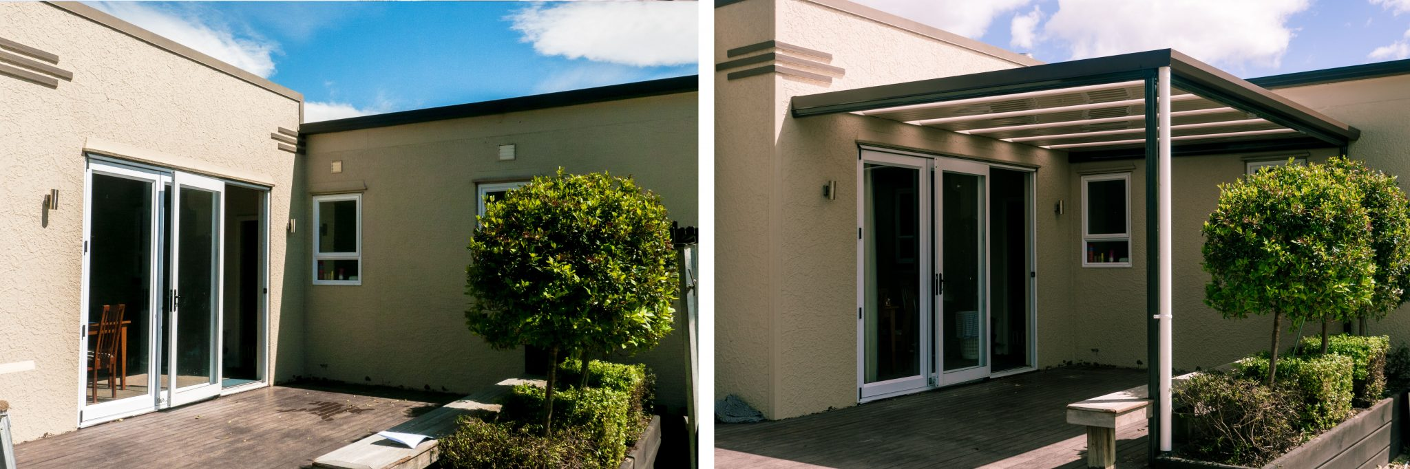 Before and After comparison of an Art Deco Style Hastings home that has no pergola roof in the before shot and is covered by a pergola roof in the after shot