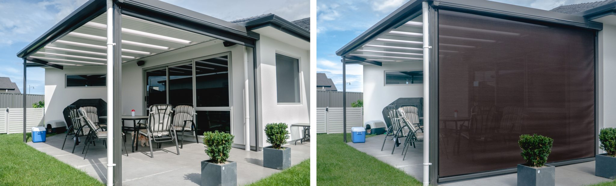 a side by side comparison of a patio roof with its blind up vs down