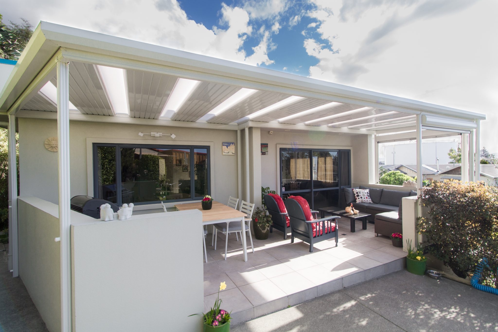 outdoor area sheltered by a pergola roof in napier